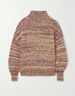 Oversized Mélange Knitted Turtleneck Sweater
