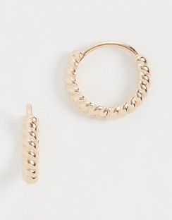 14k Twisted Petite Hoops