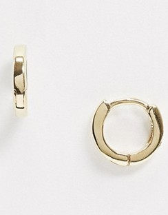 Sterling Silver with Gold Plate Huggie Hinged Hoop Earrings