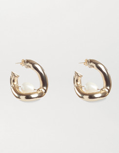 Gold-tone Faux Pearl Hoop Earrings