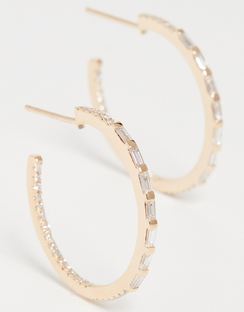 18k 5 Baguette Small Hoop Earrings