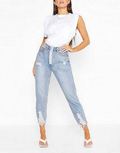 Ripped Fray Hem Straight Leg Jean