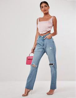 Stassie X Missguided Light Blue Wrath Highwaisted Slash Straight Leg Jeans