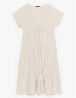 Plus Size Pleated Smock Dress
