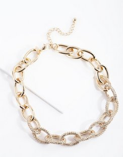 Gold Chunky Diamante Link Necklace