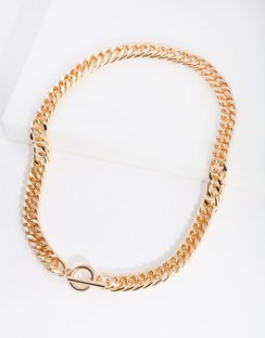 Real Gold Plated Flat Curb Necklace with Front Clasp
