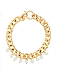 Canasta Pearl-embellished Curb-chain Choker