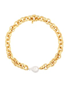 Gold-plated Chain Necklace with Pearl