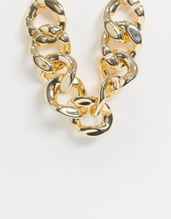 Statement Curb Chain Necklace in Gold Tone