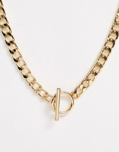 Necklace with T Bar and Curb Chain in Gold Tone