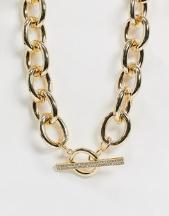Crystal T Bar Necklace in Gold Tone