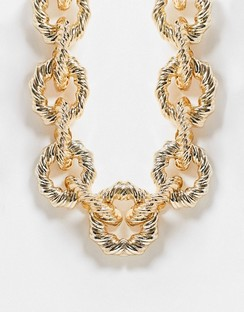 Necklace with Statement Twist Links in Gold Tone