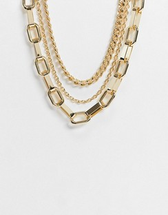 Multirow Necklace with Mixed Heavy Chains in Gold Tone