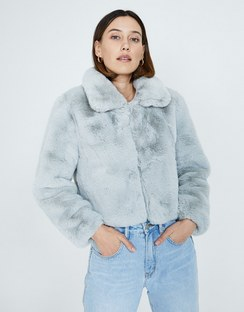 Orbison Cropped Faux Fur Jacket Light Blue