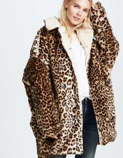 Leopard Hunting Faux Fur Coat