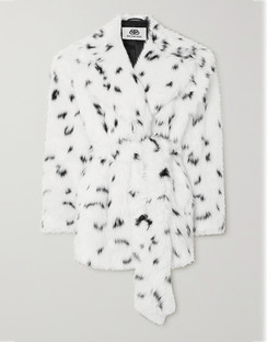 Oversized Belted Printed Faux Fur Coat