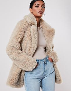 Beige Faux Fur Short Collar Cboat