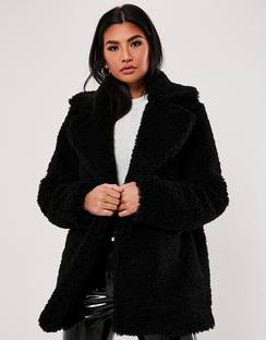 Black Faux Fur Short Collar Jacket