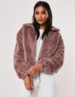 Mauve Cropped Faux Fur Bomber Jacket