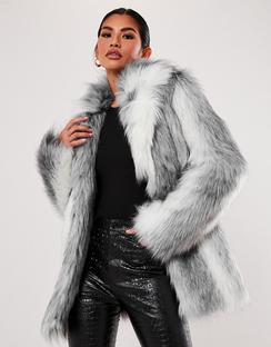 Premium Grey Two Tone Faux Fur Coat