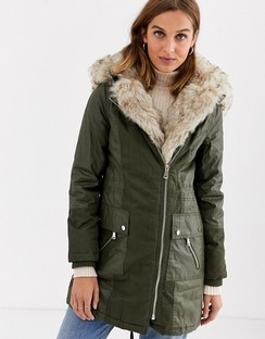 Parka Coat with Faux Fur Inner
