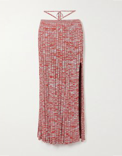 Tie-detailed Mélange Ribbed-knit Maxi Skirt