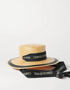 Embroidered Cotton-trimmed Straw Hat