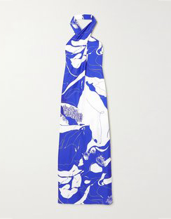 Printed Silk-twill Halterneck Maxi Dress