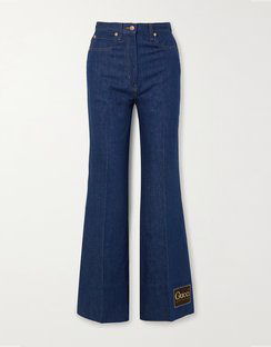 Appliquéd High-rise Wide-leg Jeans