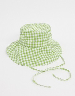 Daisy Cotton Gingham Bucket Gat in Green
