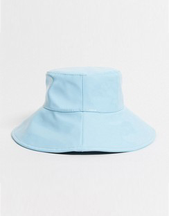 Exclusive Hi Shine Wide Brimmed Bucket Hat in Baby blue