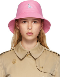 Pink Swan Appliqué Bucket Hat