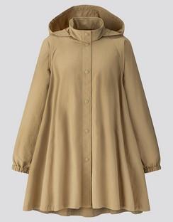 W's U stand collar A line coat