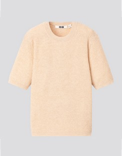 W's U ribbed crew neck S/S sweater