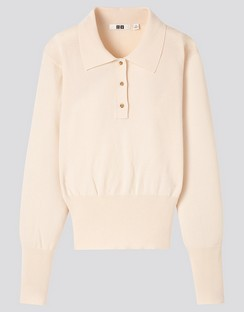 W's U Knitted Polo L/S sweater