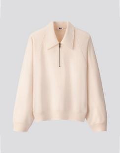 W's U sweat half zip L/S pullover shirt