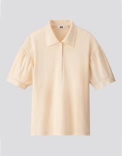 W's U gathered sleeve polo shirt