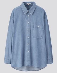 W's U denim oversized L/S shirt