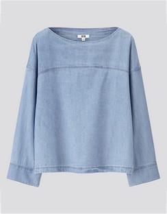 W's U denim boat neck L/S blouse