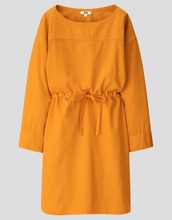 W's U denim draw string L/S dress