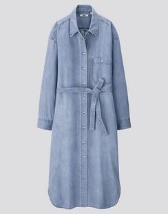 W's U denim L/S shirt dress