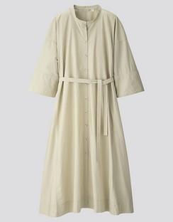 W's U stand collar 3/4 slv shirt dress
