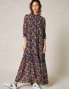 Autumn Floral Maxi Dress + Tie