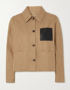 Cropped Leather-trimmed Cotton and Linen-blend Jacket