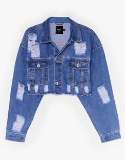 Extreme Distressed Rip Denim Jacket