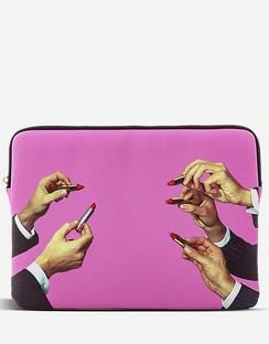 """Lipstick-print 13"""" Canvas Laptop Case 34cm x 25cm"""