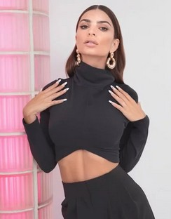 X Emrata Be There Shortly Jersey Crop Top