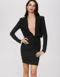 X Emrata Deeps and Bounds Plunging Mini Dress
