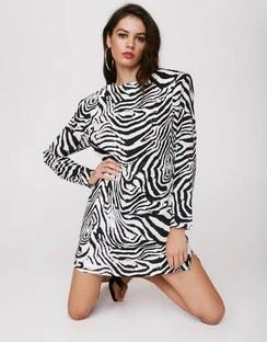 X Emrata Wild Streak Zebra Mini Dress