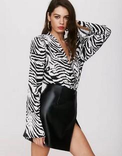 X Emrata Wild Streak Zebra Bodysuit